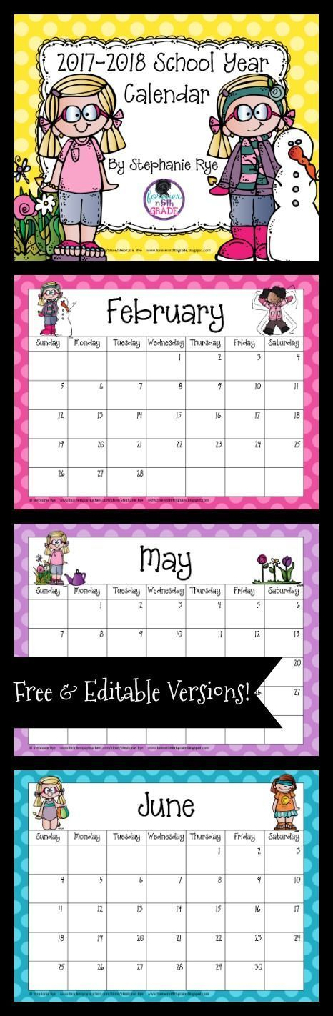 Grab this adorable school year calendar for free or buy the editable version, and you will never have to buy another calendar! Simply download the new version every spring!