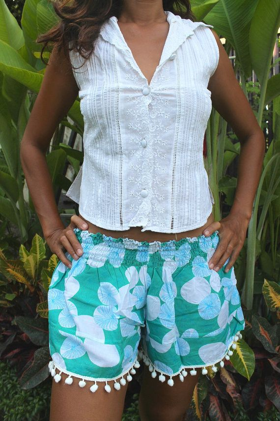 Hey, I found this really awesome Etsy listing at https://www.etsy.com/uk/listing/264604108/short-pompom-woman-summer-printed-rayon