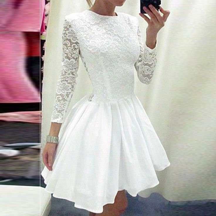 White Lace Homecoming Dresses 2017 Long Sleeve A Line O Neck Short Cheap Women Club Cocktail Party Dresses Vestido De Festa
