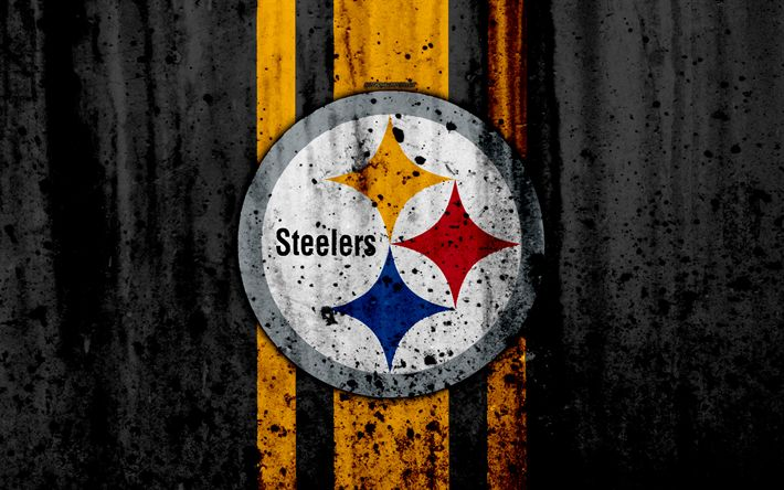Download wallpapers 4k, Pittsburgh Steelers, grunge, NFL, american football, NFC, USA, art, stone texture, logo, North Division