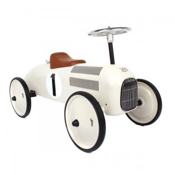 Vilac Classic Car. My son has this in red and adores it. It's a fab look in the playroom too.