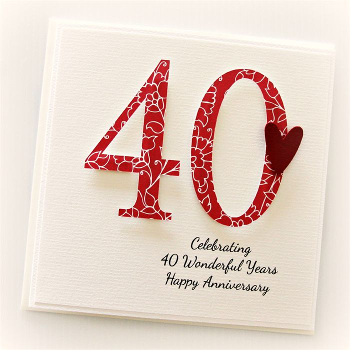 personalised 40th anniversary card wedding anniversary ruby | the little card boutique | madeit.com.au