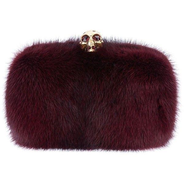 ALEXANDER MCQUEEN mink fur box clutch (2,970 CAD) ❤ liked on Polyvore featuring bags, handbags, clutches, purses, bolsas, borse, skull hand bags, alexander mcqueen clutches, box clutch and purple handbags