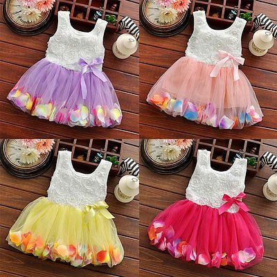 Toddler Baby Kid Girls Princess Party Lace Bow Flower Ruffled Tutu Dress Skirt K