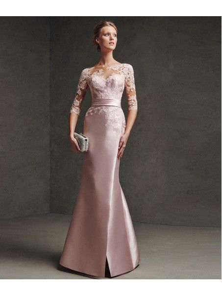 26267dddd9bd2 Mermaid 3/4 Length Sleeves Illusion Neckline Lace Satin Long Prom Evening  Dresses 2103040