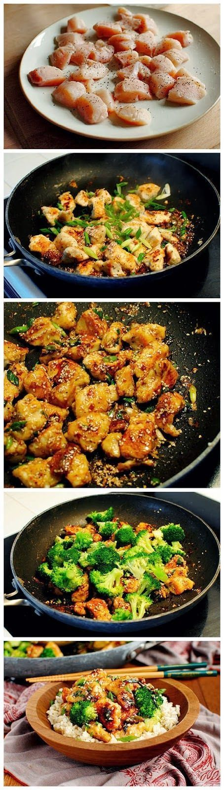 Made it & LOVED IT!!! Lighter Sesame Chicken (broccoli, green onion, brown rice, honey, sesame seeds, soy sauce, garlic, egg, cornstarch, s&p, oil)