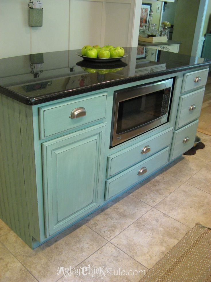 Kitchen Island Duck Egg Blue with Washed Effect  artsychicksrule.com #chalkpaint #duckeggblue
