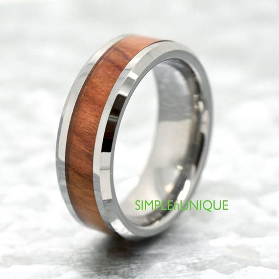 Mens Wood Ring, Mens Wood Wedding Band, Tungsten Wedding Ring, Mahogany Wood Inlay, Mens Wood Promise Ring, Unique Wedding Band for Him