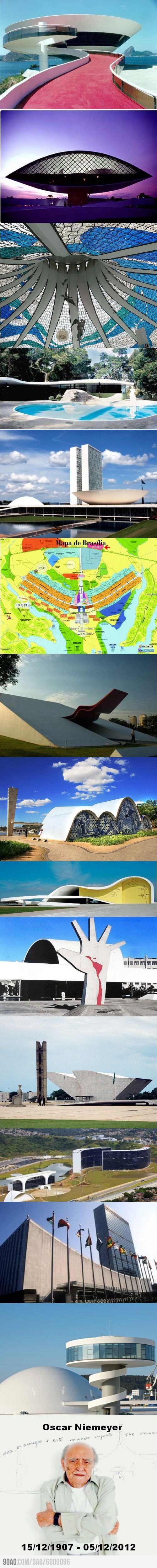 Oscar Niemeyer. Uno de los más grandes arquitectos del mundo. Símbolo de mi país, Brasil.