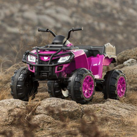 Best Choice Products 12V Powered Extra Large Kids ATV Quad 4 Wheeler Ride On Spring Suspension MP3 Lights Storage (Pink) Image 2 of 7