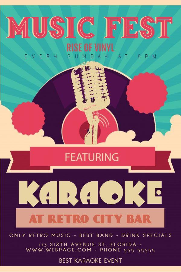 Vintage Karaoke Bar Poster/Flyer Design Idea | Vintage ...