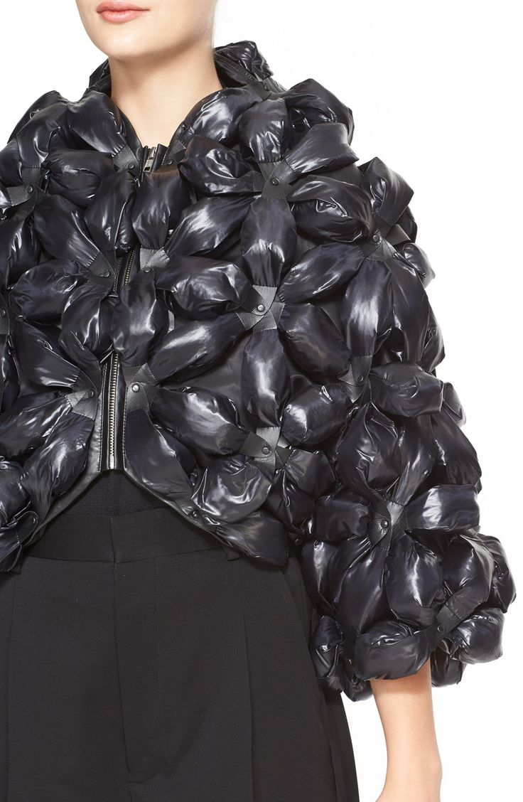 Fabric Manipulation - jacket with 3D flower applique for texture; creative sewing; fashion detail // Noir Kei Ninomiya