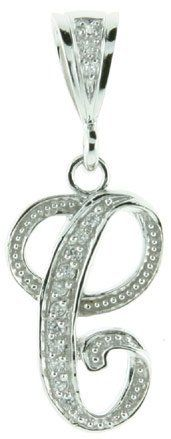 Sterling Silver Large Script Initial Letter C Pendant w/ Cubic Zirconia Stones, 1 1/2 inch tall Sabrina Silver. $46.95