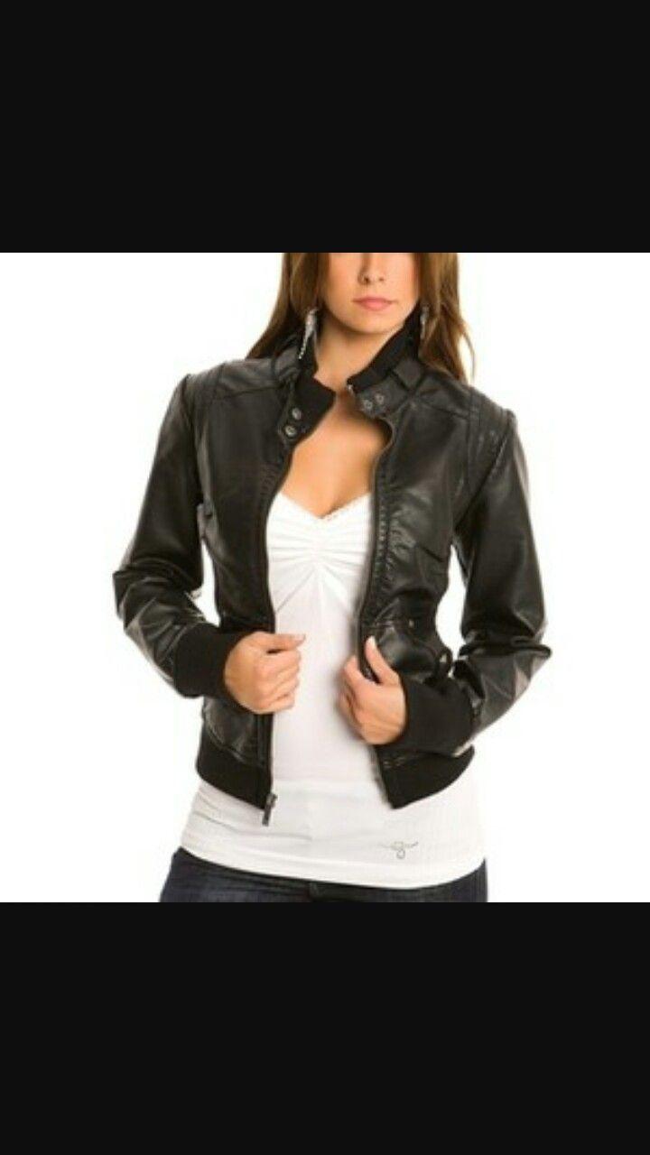 Womens faux leather jacket black