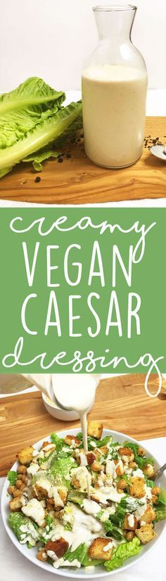 Homemade Creamy Vegan Caesar Salad Dressing - soy-free, dairy-free, and absolutely DELICIOUS. We love this over a vegan caesar salad with homemade croutons.