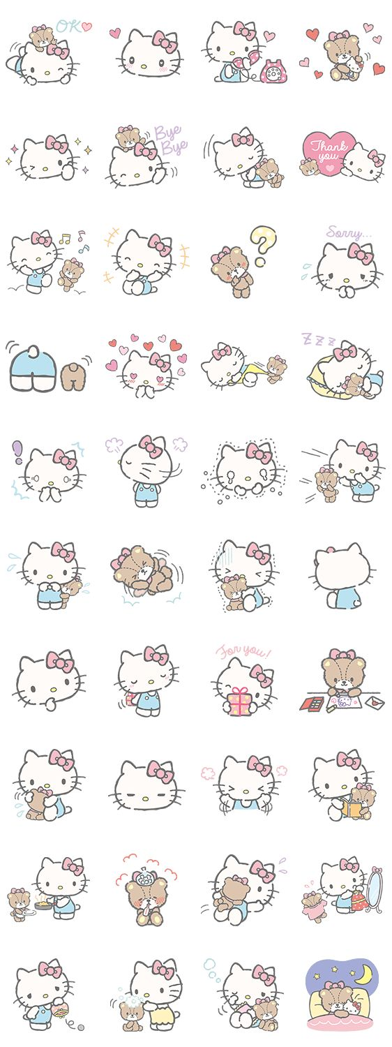 Hello Kitty Line stickers |( ̄3 ̄)|                                                                                                                                                      More