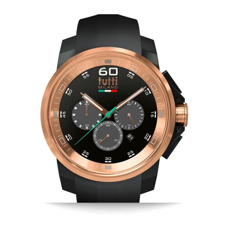 Design horloges uit Italie, Check deze XL Tutti Milano horloges | http://www.kish.nl/Tutti-Milano-TM500-NORO-zwart-horloge/