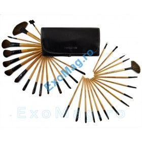 Trusa 32 pensule machiaj cu maner din lemn natural - http://exomag.ro/pensule-machiaj-profesionale-makeup/trusa-32-pensule-machiaj-fraulein38-natural-wood.html