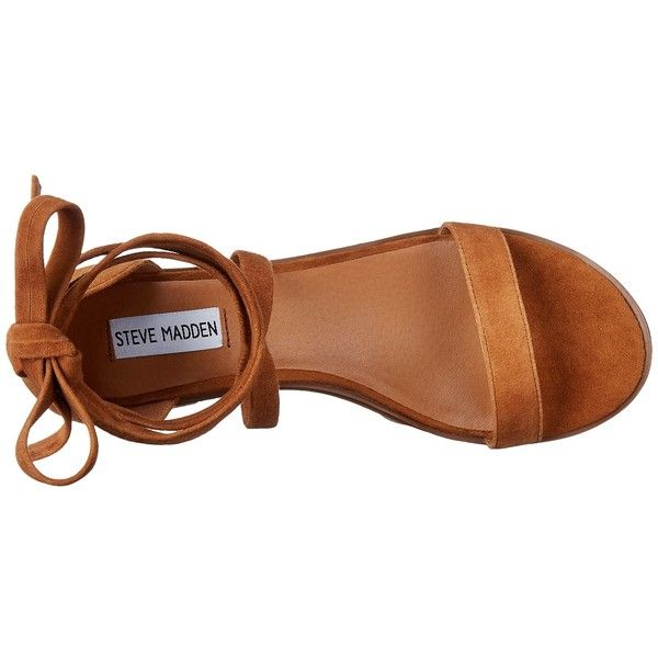Steve Madden Rizzaa (Cognac Suede) Women's Sandals ($73) ❤ liked on Polyvore featuring shoes, sandals, single strap sandals, ankle tie sandals, steve madden shoes, steve madden sandals and open toe shoes
