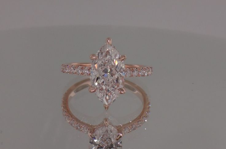 Josh Levkoff - Collection, Rings - 355) Marquise Set Diamonds with Underneath Halo Set in Rose Gold | Josh Levkoff
