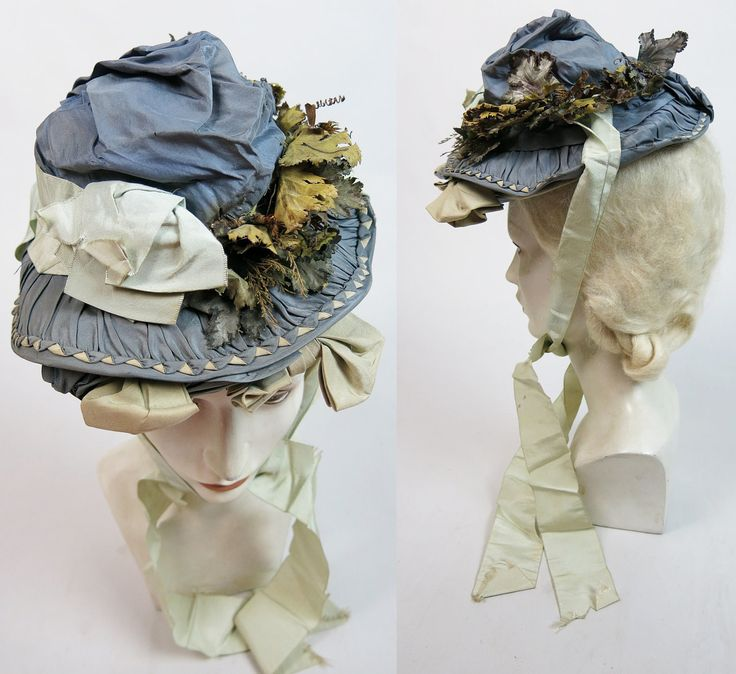 Antique Victorian Silver, Celadon And Cream Silk Bonnet With Ribbon from marzillivintage on Ruby Lane