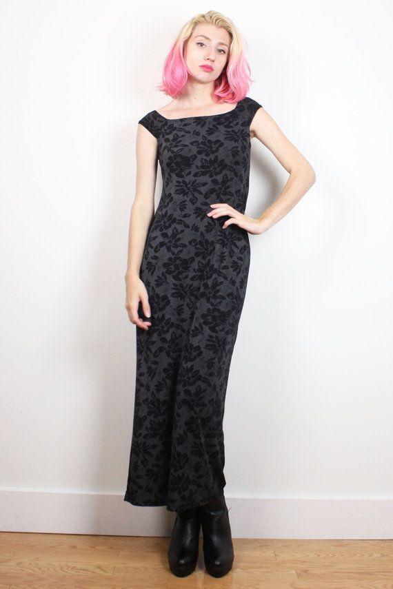 Vintage 1990s Dress Black Charcoal Gray Floral Print Bodycon Maxi Dress 1990s Dress Bandage Dress Stretchy Soft goth Grunge Dress S M Medium #1990s #90s #etsy #vintage #soft #grunge #floral #goth #maxi #bodycon #bandage #dress