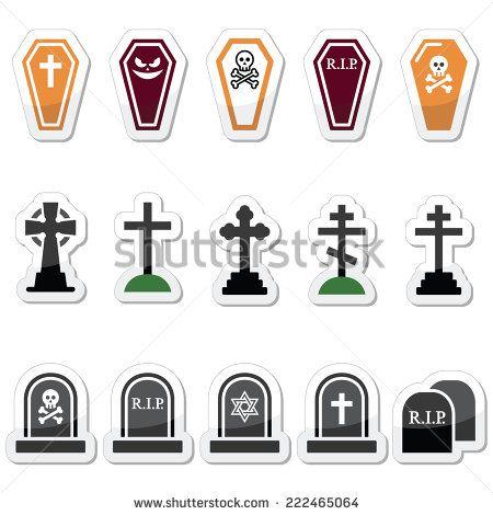 Halloween, graveyard icons set - coffin, cross, grave by RedKoala