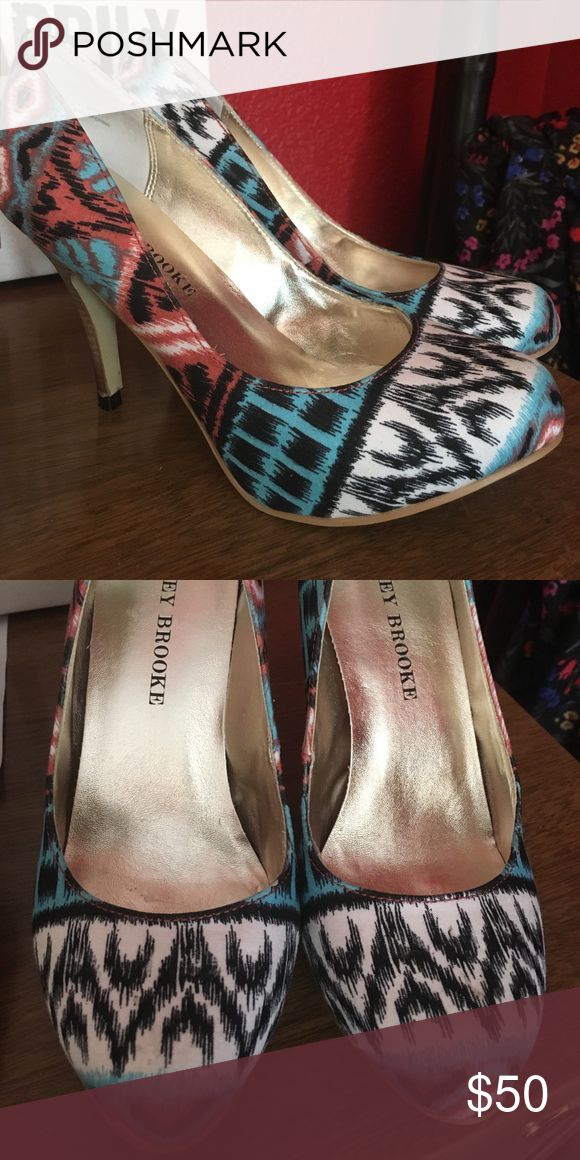 Aztec pumps Super cute in mint condition! Wore one time! Audrey Brooke Shoes Heels