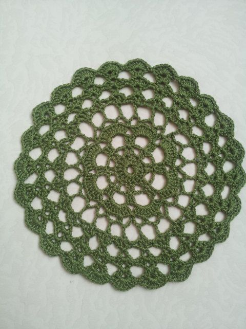 Crochet Green Round Doily Cotton Centerpiece Crochet Home Decor Table Decor made in Lithuania by RenataaDesigns on Etsy