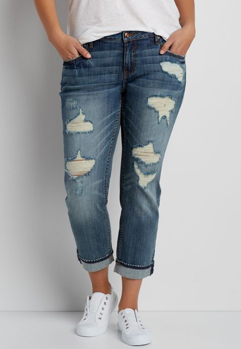 Vigoss ® plus size medium wash tomboy jeans with destruction | maurices