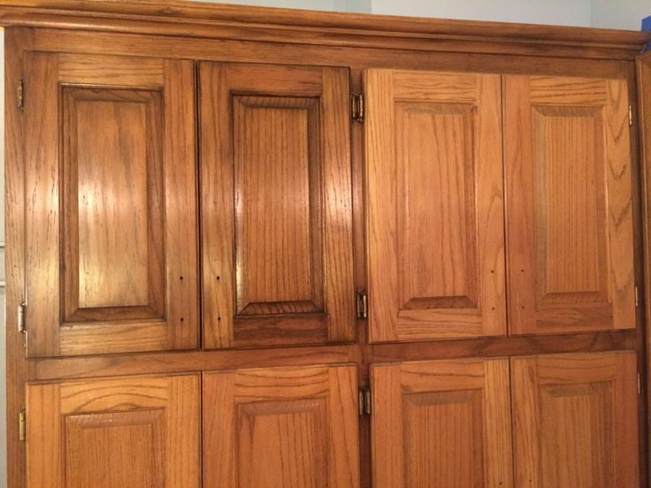 Golden Oak cabinets enhanced with mahogany gel stain.