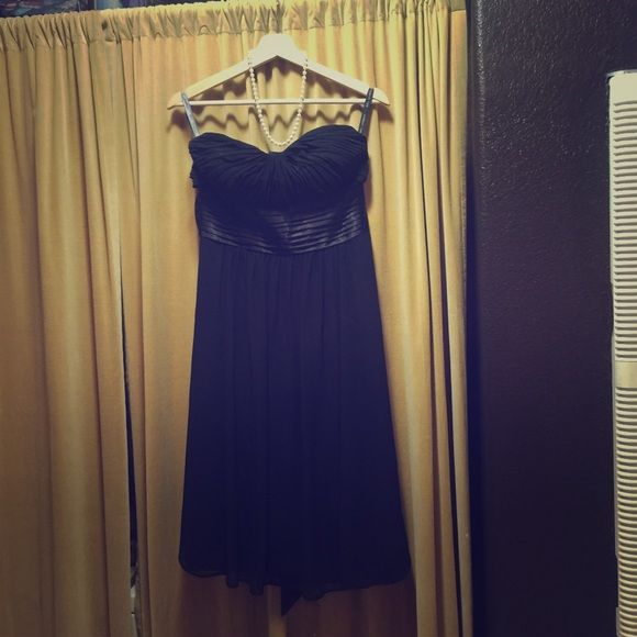 Black Strapless Tea Length Formal Dress Worn Once I bought this dress for $200 to wear in my sisters wedding. I am no longer small enough to fit into it but it is a great dress. Bill Levkoff Dresses Strapless