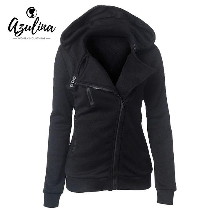 Azulina女性パーカートレーナー秋冬長袖ジッパーフード付きスウェットシャツ暖かい女性トラックスーツストリートブラックホワイト