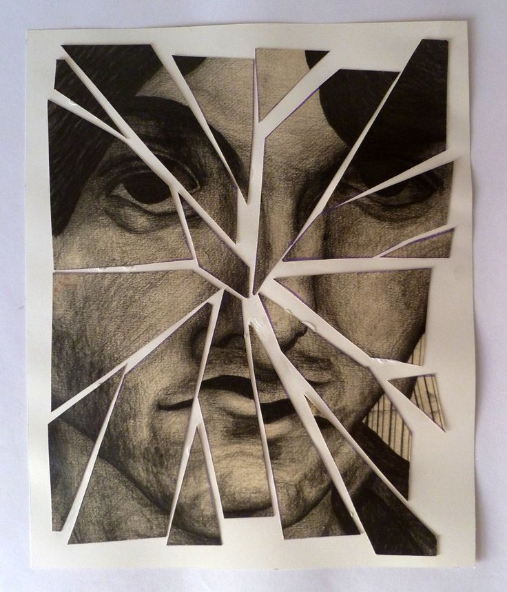 fractured portrait drawing. final, second option.