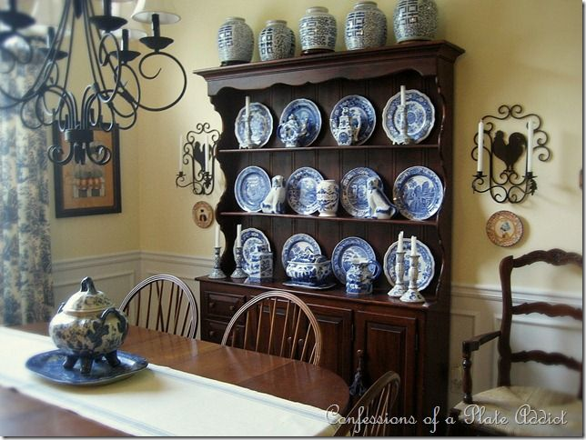 Blue And White French Country Dining Room Confessions Of A Plate Addict Reminds Me The Hutch My Grandfather Beaver Made More Than Ago With