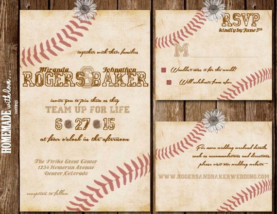 Amazing The Vintage Baseball Collection Set   Printable Wedding Invitation   DIY    Custom   Rustic   Sport   Red   Ivory   White   Brown
