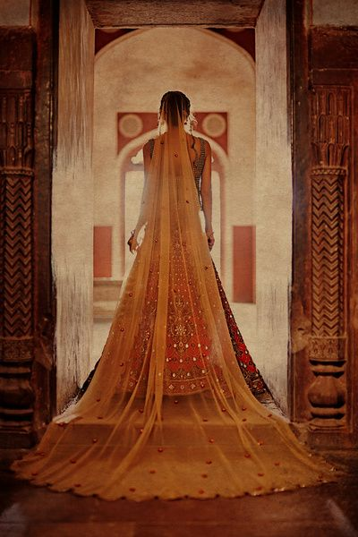 veil, long train with lehenga, sheer veil on head, back of bride