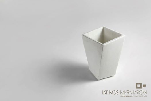 Vase Caspeau made out of Thassos marble, designed by Spiros Soulis for Iktinos Marmaron.