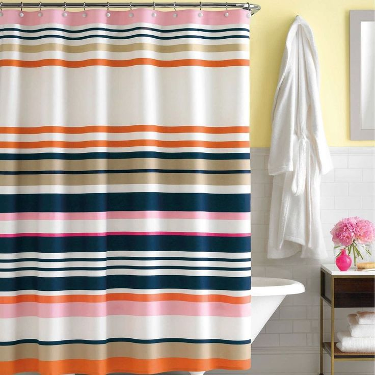 Kate Spade Candy Shop Stripe Fabric Shower Curtain Navy