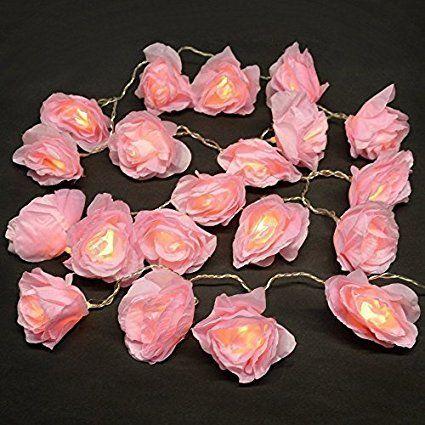 Catena di 20 LED luci festivi nella forma di fiori di rosa - operata a batteria - colore rosa
