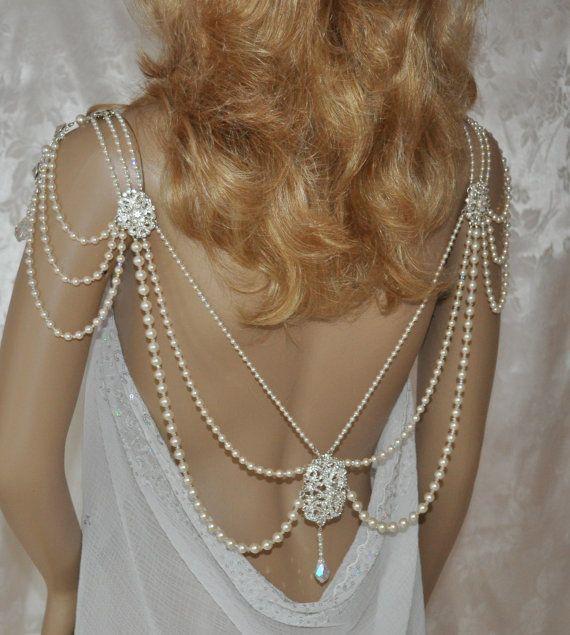 Swarovski Necklace,Back Necklace, back drop,shoulder necklace,Vintage Back Necklace,Vintage shoulder necklace,Back Draping,Wedding Jewelry