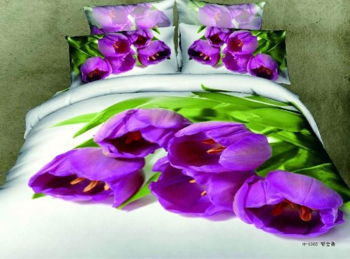 3D roxo tulip cachecol floral conjunto de cama edredons rainha define capa de edredão colcha de roupa de cama colcha de pintura a óleo(China (Mainland))