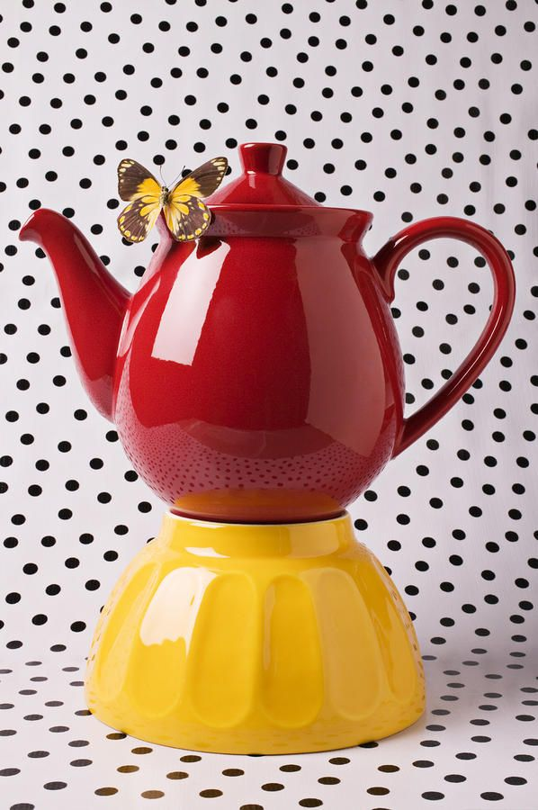Red Teapot With Butterfly.