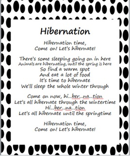 """Stepping into First Grade - Hibernation poem to the song """"Celebration"""""""