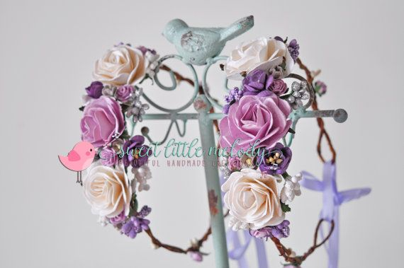 Lilac Ivory Flower Crown Purple Ivory by SweetLittleMelody on Etsy