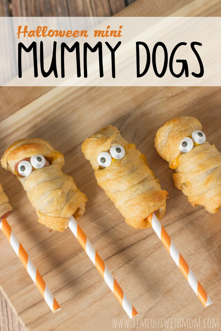 #MummyDogs are a fun Halloween snack for kids! How cute are they?   Timeout with Mom: Halloween Mini Mummy Dogs and Pay Pal Cash #Giveaway, #MummyDogs