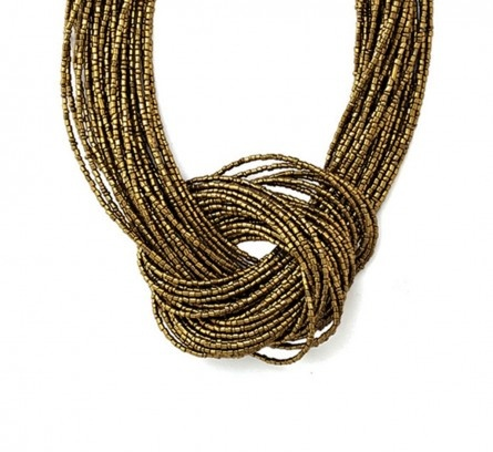 Antique Gold Tone Multi-Strand Knot Necklace