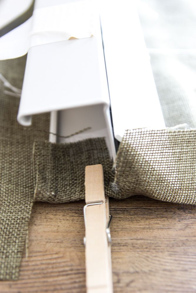 DIY Burlap Roman Shades from Blinds   blesserhouse.com - A beautiful way to make pricey looking window shades for cheap!