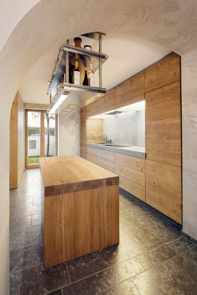 recessed blonde wood kitchen in renovated 19th century townhouse - frankfurt germany - dynamo studio - photo by p. wünstel