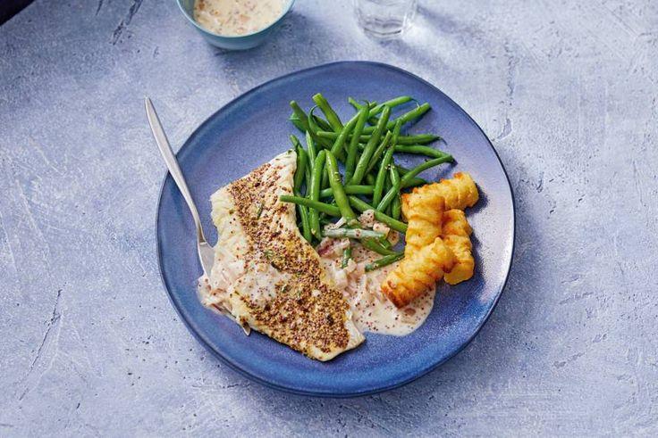 4 november 2017 - Kabeljauw + sperziebonen in de bonus -  Meer dan een saus met mosterd en verse kruiden heeft zachte kabeljauw ook helemaal niet nodig. - Recept - Allerhande